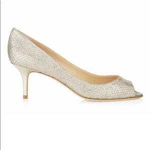 Jimmy Choo Shoes - Jimmy Choo Isabel Glitter Peep Toe Pumps Sz 38.5